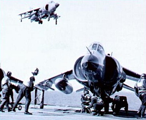 Sea Harriers preparing to launch